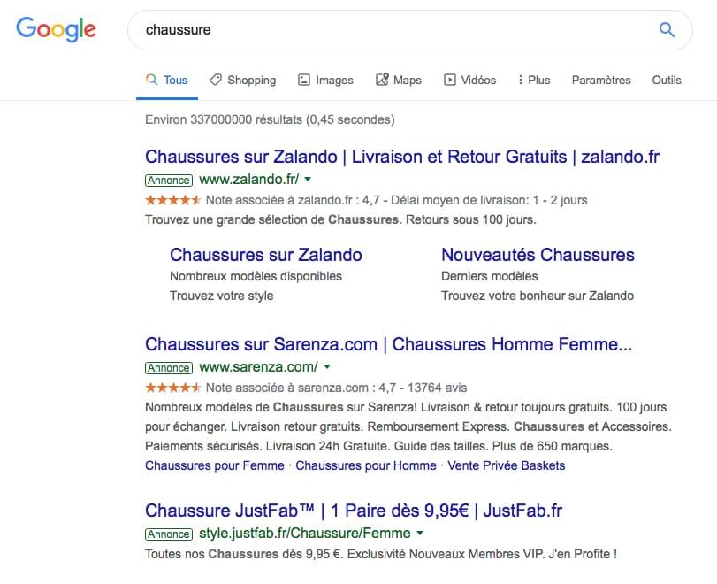 Recherche-Google-mot-clé-chaussure